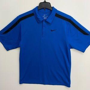 Nike Dri-Fit S blue black stripe polo golf